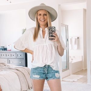 Keep In Mind White Flowy Blouse Top
